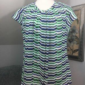 Worthington blue green geometric pleated blouse XL